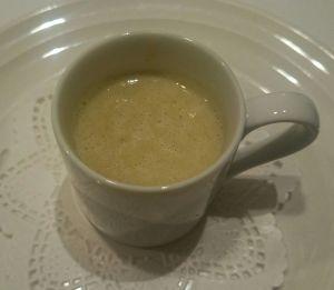 下仁田ネギのクリームスープ ネギの甘味がスープに溶け込んでいる。