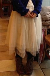 チュールのロングスカート